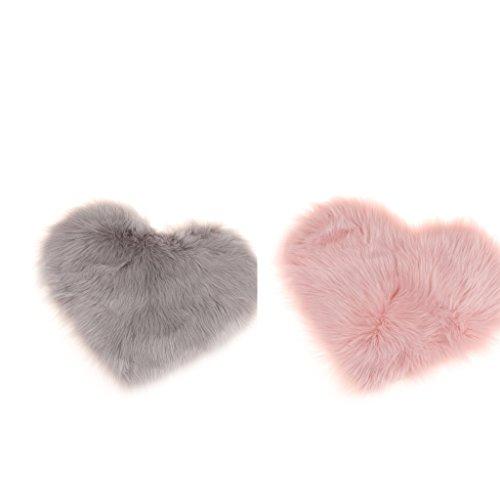 F Fityle 2er Set Herz Form Teppich Kunstfell Flauschige Teppiche Bodenmatte Bettvorleger Plüsch Kinderteppich