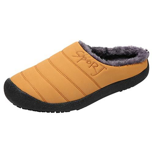 Yowablo Hausschuhe Herren Large Size Casual Home Plus Samt Warme Schuhe Bequeme Baumwolle (39 EU,Herren-Gelb)