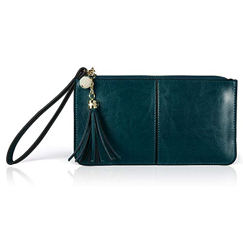 Befen Soft Leather Wristlet Smartphone Wristlet Wallet Clutch Bags with Wrist Strap/Card Slots for Women - Fit iPhone 8 Plus/Samsung Note 5- Peacock Green