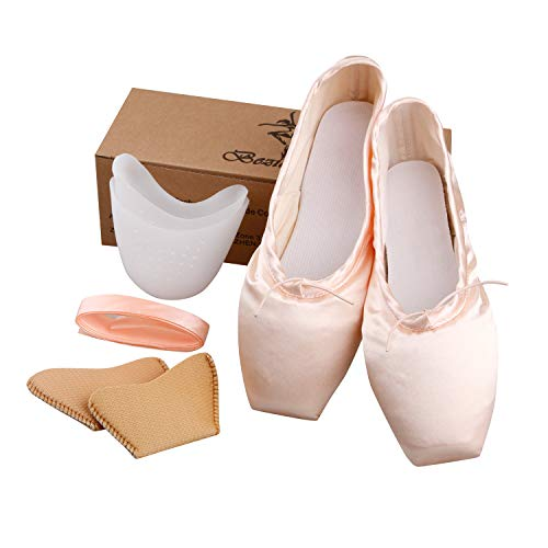 KUKOME Ballet Dance Shoes Pink Satin Pointe Shoes with Ribbon and Toe Pads for Ladies (Pink, US8.5)