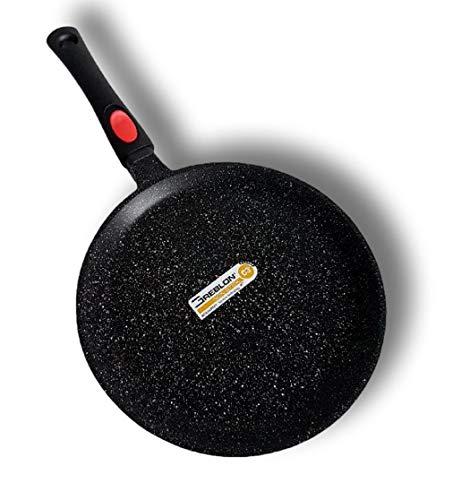 Cflagrant® Große Crêpe-Pfanne 32 cm Crêpe-Pfanne in Steinoptik, für alle Herdarten geeignet, auch Induktion ohne PFOA, Kochen ohne Fett, Greblon C3+, deutsche Technologie (32 cm)