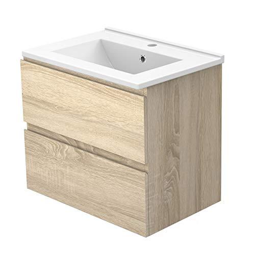 AICA sanitaire Meuble sous Vasque De Salle De Bain Suspendu Bois Clair avec Lavabo et 2 tiroirs Espace De Rangement 60cm