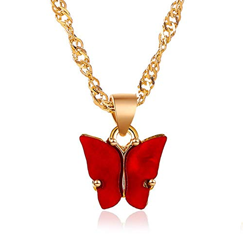 LLD Collar de Mariposa Azul Degradado para Mujeres niñas Color Plata Mariposas arcoíris Colgante Gargantilla Collares Regalo de la joyería, Rojo arcylic