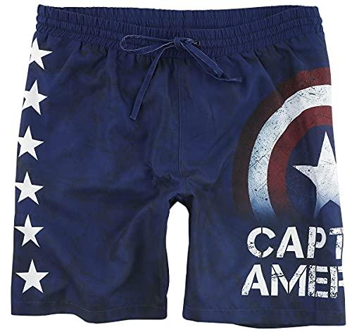 Captain america Stars Männer Badeshort dunkelblau XL 100% Polyester Fan-Merch, Filme, Marvel Comics