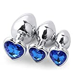 YRYH 3Pcs Metall B-ütt Ānāl-Plúg Bút Herzform Kristall Adult Sax Spielzeug für Frauen Männer Paar Blau