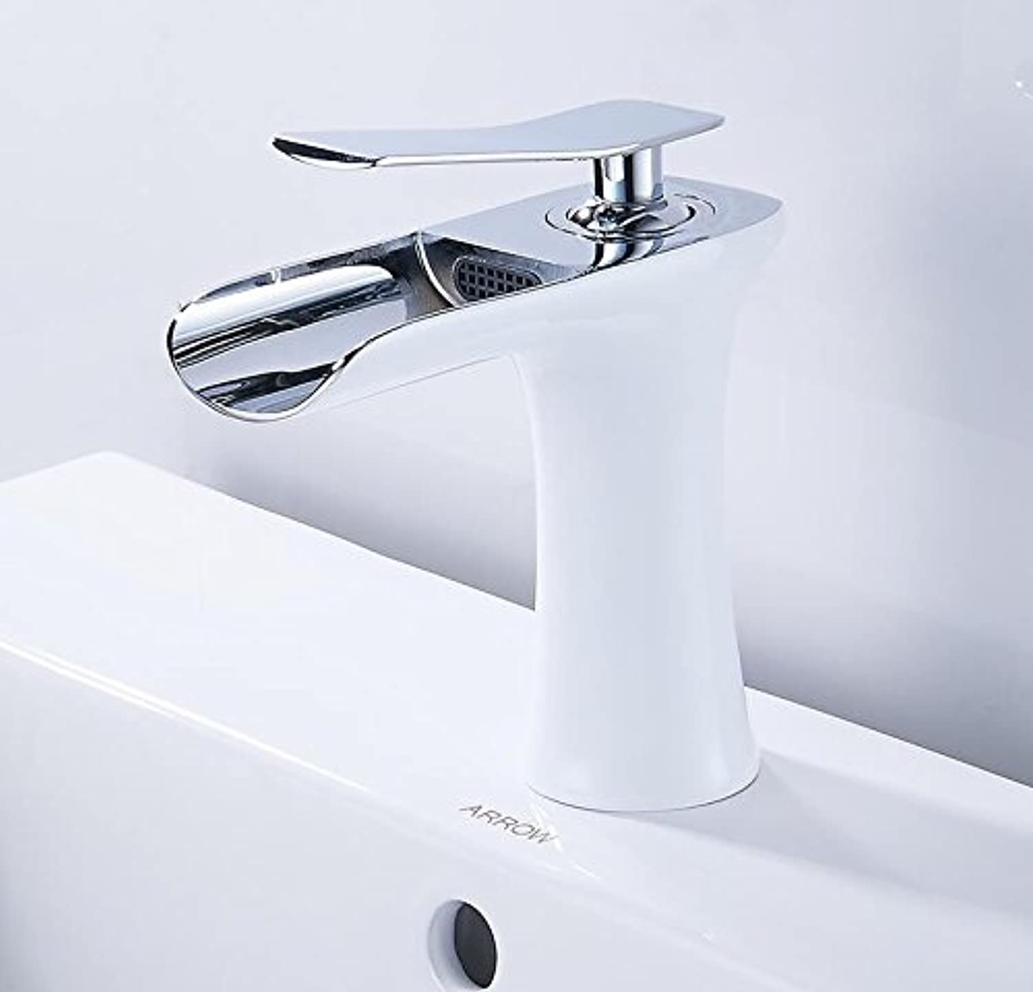 Makej Antique and White color Finish Waterfall Bathroom Faucet Bathroom Basin Mixer Tap with Hot and Cold Water