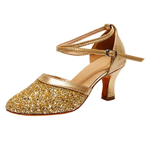 Damen Latin Tanzschuhe Pointed Toe High Heel Basic Closed Riemchensandale Sommer Outdoor Sandals(Z-Gold/Gold,41)