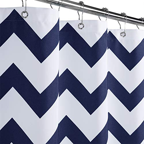 """Haperlare Stall Fabric Shower Curtain, Chevron Striped Heavy Weight Polyester Shower Curtain with Metal Grommets for Bathroom Hotel Luxury Washable, 35"""" x 72"""", Navy Blue and White"""