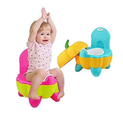 Baby Gear Vasino Poltroncina Per Bambini Con Coperchio Portatile Schienale alto ed ergonomico Design a forma di paprika Vasino e poggiapiedi, 2 In 1 Per Bambini Sgabello