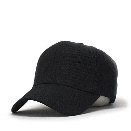 Premium Plain Wool Blend Adjustable Snapback Hats Baseball Caps (Black)
