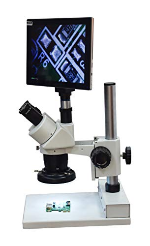 Radical PCB Inspection Soldering Mobile Weld Repair Jewellery Biology Dissecting 5-10-30x Stereo Large Base Microscope 165mm/6.5' Long Working Distance Touch Screen 10' LCD 5Mp Camera Ring LED Light