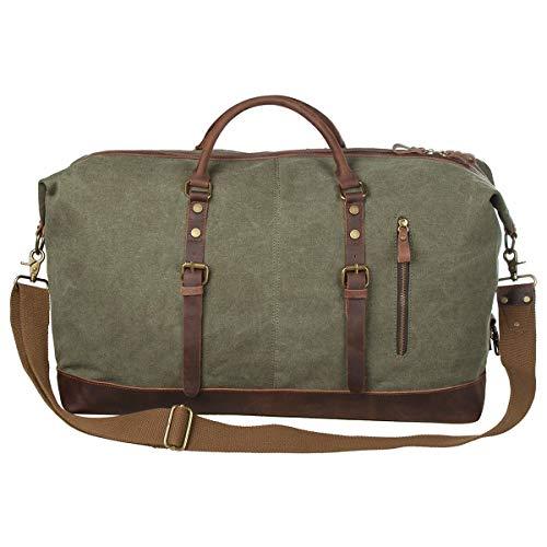 S-ZONE S-ZONE Reisetasche Größere Version Vintage Canvas Leder Trim Unisex Handgepäck Weekender Tasche Sporttasche für Reise Wochenende Urlaub