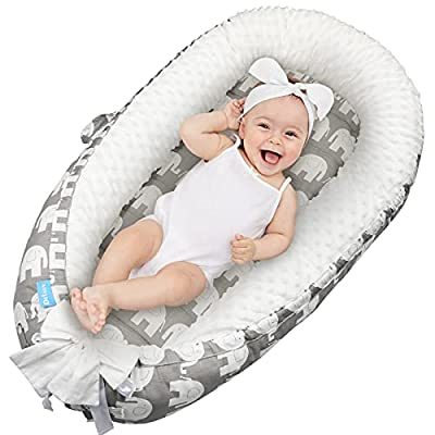Delauv Baby Lounger,Baby nest/Mattress,Co-Sleeping for Baby Newborn Lounger,Baby Nest for Crib & Bassinet,Soft Breathable Fiberfill Portable Newborn Co Sleeper,Gift for Newborn(0-12months) (Elephant)
