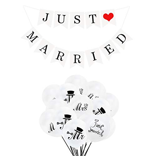 Just Married Banner Bunting Mr Mrs Just Married Globo para la Boda Decoración del Coche Despedida de Soltera Compromiso de la Foto Apoyos de la Foto Regalo de Boda para recién Casados