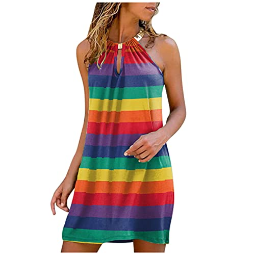 Dresses for Women, SHOBDW Ladies Fashion Summer Beach O-Neck Casual Metal Hanging Neck Sunflower Printed Strapless Dress Sleeveless Midi Dress Gradient Dress(#4 Green,L)