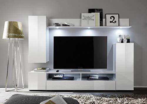 Wohnwand – Moderne Hochglanz Mediawand in Weiß kaufen  Bild 1*