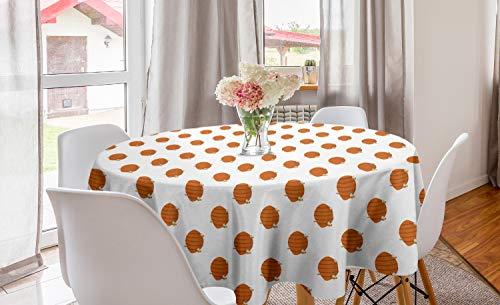 ABAKUHAUS Honingraat Rond Tafelkleed, Bijenkorven Cartoon Stijl, Decoratie voor Eetkamer Keuken, 150 cm, Oranje Aarde Geel