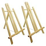 14' Wood Table Top Easel for Painting Display, A Frame Mini Canvas Holder Sturdy Fold Up Easel for Painting Projects Party Photo Gift, Bulk Art Easels for Kids and Adults 2 Easels Set - MoHoLi