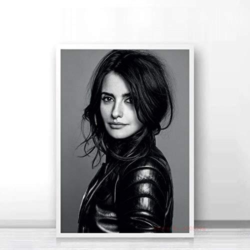Aishangjia Penelope Cruz Poster in Bianco e Nero Modern Canvas Painting Wall Art Pictures Stampe per Soggiorno Arredamento Camera da Letto 40x50 cm (15,74x19,68 in) J-3001
