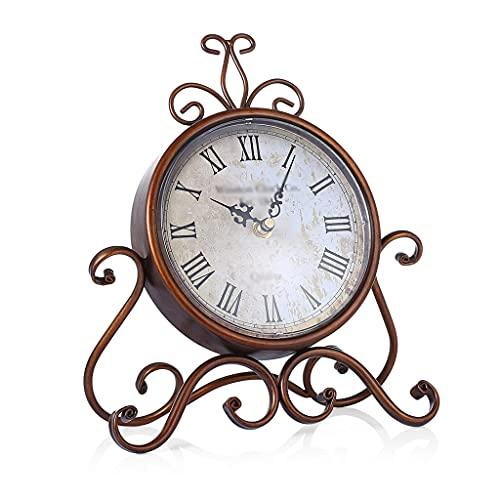 Yousiju Estilo Europeo Retro Irón De Hierro Craft Craft Table Reloj Decoración del Hogar Bronce Mute Table Reloj Handicraft Vintage Desk Reloj