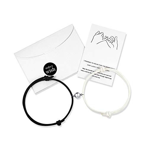 Matching Couples Bracelets Magnetic Forever Attraction His Hers Relationship Rope Bracelet Set Couple Jewelry Gifts for Women Men Lover Boyfriend Girlfriend Him Her Friendship