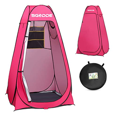SGODDE Pop Up Privacy Shower Tent,Instant Portable Outdoor Shower Tent Camp Toilet, Changing Room, Rain Shelter with Carry Bag for Camping Hiking Beach Toilet Shower Bathroom Pink