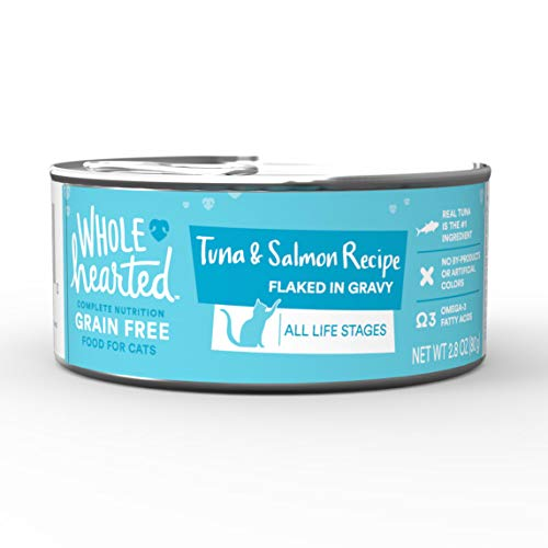 WholeHearted All Life Stages Canned Cat Food - Grain Free Tuna and Salmon Recipe Flaked in Gravy, 2.8 OZ, Case of 12, 12 X 2.8 OZ