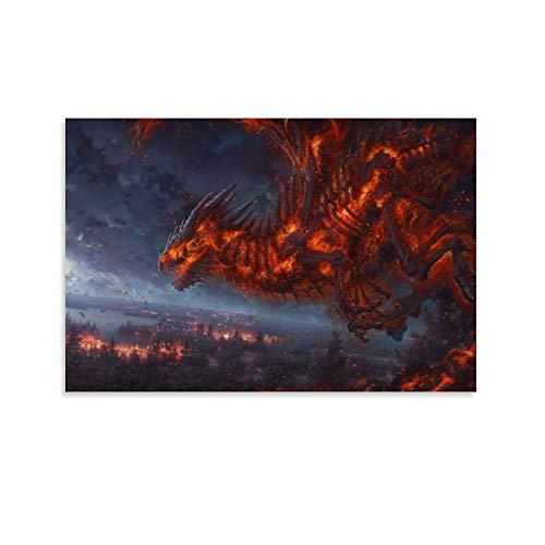 UBNSJDRTHL Cuadro decorativo para pared, diseño de dragón de fantasía loco, 90 x 60 cm