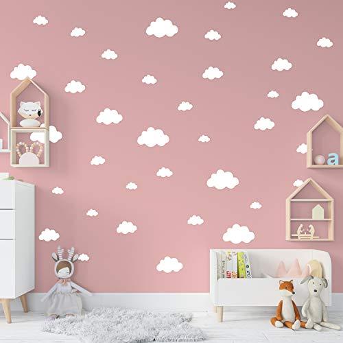 36 Nuvole adesive per camerette | Sticker nuvola adesive per parete cameretta bianche | Adesivi ATTACCA e STACCA ideali per decorare le pareti