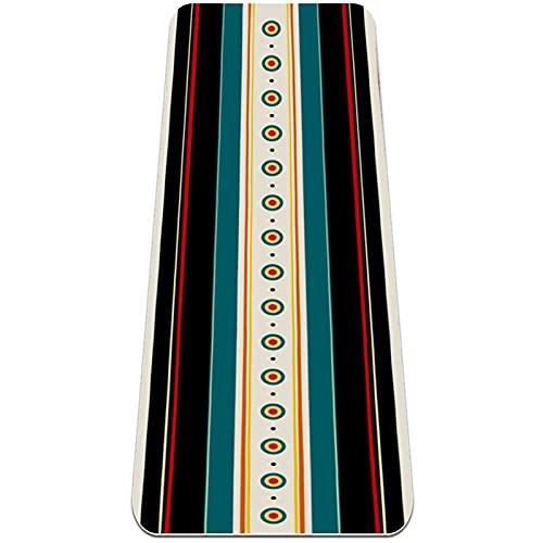 Esterilla de yoga, antideslizante TPE Esterilla de ejercicio para mujeres y hombres Home Fitness-Retro Stripe Vintage