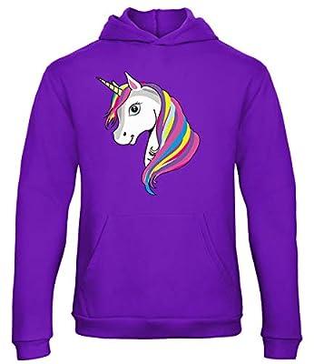 Sudadera con capucha y diseño de unicornio arcoíris con capucha rosa Morado Morado ( 7-8 Años