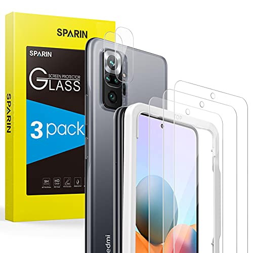 SPARIN 3 Pack Protector de Pantalla Compatible con Xiaomi Redmi Note 10 Pro con 2 Pack Protector de Lente de Cámara, Cristal Templado con Marco de Alineación