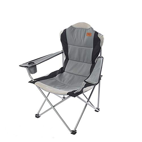 RH-HPC Outdoor Chair Aluminum alloy portable folding comfortable chair black outdoor chair camping chair, Heavy Duty and Durable stool field (Color : Gray)