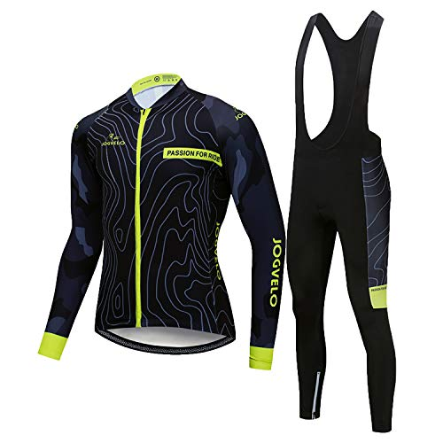 JOGVELO Maillot Ciclismo, Ropa Ciclismo Conjunto Hombre Jersey + Culotes Ciclismo Invierno Vellón Térmico Reflectante, L