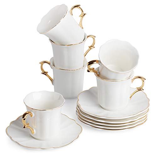 BTaT- Small Espresso Cups and Saucers, Set of 6 Demitasse Cups (2.4 oz) with Gold Trim and Gift Box, Small Coffee Cup, White Espresso Cup, Turkish Coffee Cup, Porcelain Espresso Cup
