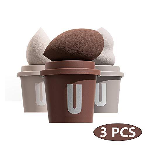 JIN GUI Éponge de Maquillage à Double Usage, sèche et Humide, 3 pièces éponges de beauté, Fond de Teint mélangeur avec Support de Tasse à café, Mousse Haute élasticité Douce pour la Peau