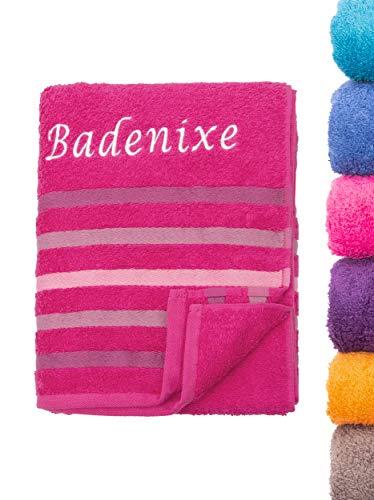 Strandtuch Saunatuch Badetuch 80x200 cm 100% Baumwolle in Verschiedene Designs, Fuchsia Badenixe