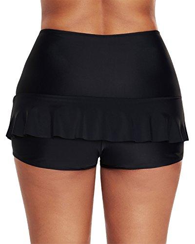 Dolamen Mujer Shorts de baño, 2018 Trajes de baño Bañador Deportivo Traje de Baño Bañador de natación Falda Bikini para Mujer Bragas Pantalones Cortos (Medium, Negro)