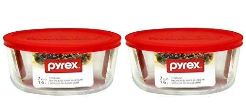 Pyrex Storage Plus COMINHKR097849 Lot de 2 boîtes de rangement rondes avec couvercle en plastique Rouge 7 tasses