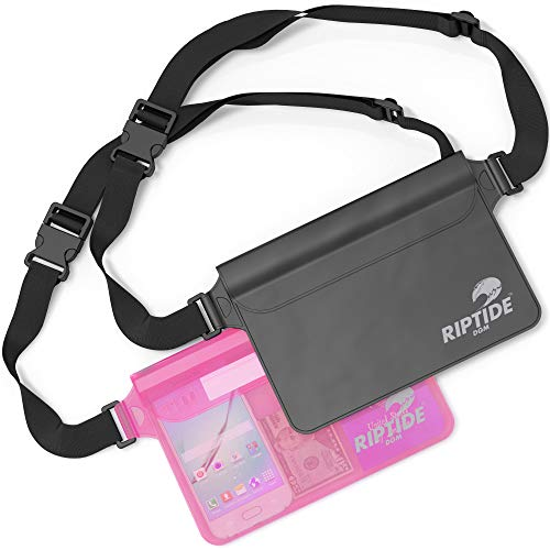 Riptide Waterproof Fanny Pack (2 Pack) for Men & Women Dry Bag Water Resistant with Adjustable Waist Strap -Protects Valuables - at Water Sports Swimming Skiing Black/Transparent & Sheer Pink
