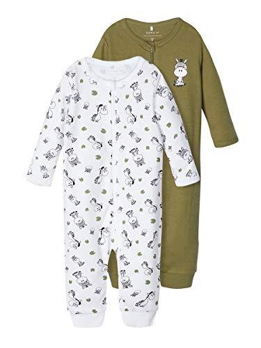 NAME IT Boy Schlafanzug 2er-Pack Reißverschluss 74Loden Green