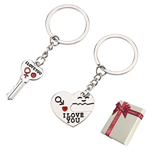 Huture Paar Schlüsselanhänger mit Gravur Rot Herz Partner Schlüsselbund I Love You Muttertag Vatertag 2-teilig Liebe Anhänger für Geburtstags Jahrestag