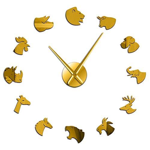 WEIGENG Reloj de pared gigante manual con adhesivo de espejo grande, sin...
