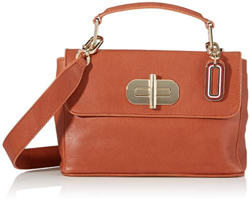 Tommy Hilfiger Damen Elevated Leather Crossover Umhängetasche, Braun (DARK TAN), 0x0x0cm