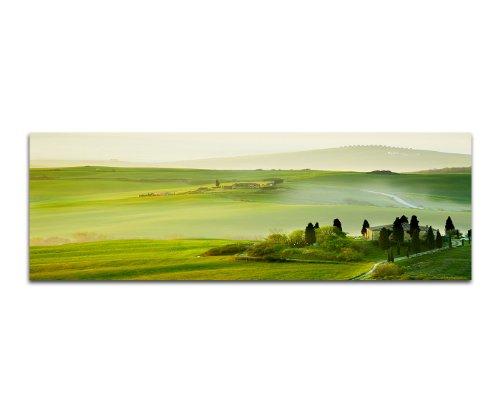 Morgen in der Toskana grüne Landschaften 150x50cm Panoramabilder auf Leinwand und Keilrahmen Wandbild auf Leinwand und Keilrahmen fertig zum aufhängen - Unsere Bilder auf Leinwand bestechen durch ihre ungewöhnlichen Formate und den extrem detailliert