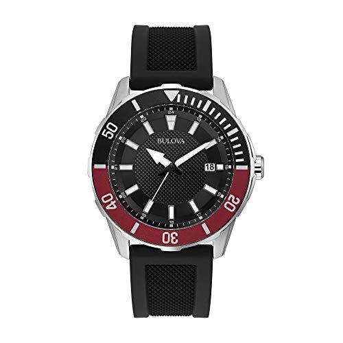 Relógio masculino de quartzo Bulova 98B348 com quartzo japonês e quartzo preto