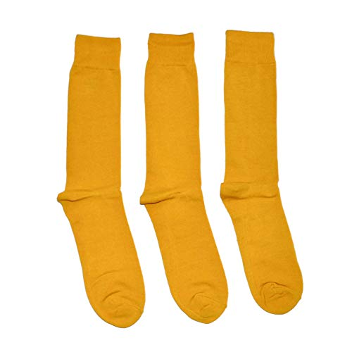 Bop Classy 3 Pairs of Men's Colorful Fancy Dress Socks - Solid Colors (Yellow (Mustard) - 3 Pairs)