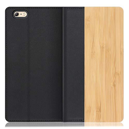 LOOF Nature iPhone 6 Plus / 6s Plus ケース 手帳型 カバー 天然木 本革 ウッド 手帳型ケース 手帳型カバー 携帯ケース 携帯カバー スマホケース スマホカバー ベルト無し 木製 スタンド機能付き カード収納 カードポケ