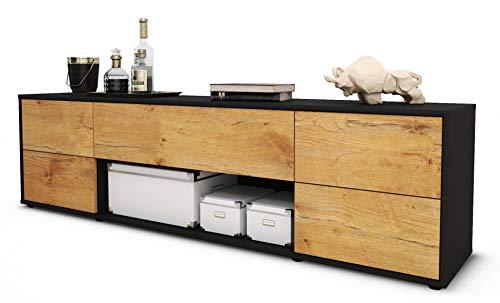 Stil.Zeit TV Schrank Lowboard Babetta, Korpus in anthrazit matt/Front im Holz-Design Eiche (180x49x35cm), mit Push-to-Open Technik und hochwertigen Leichtlaufschienen, Made in Germany