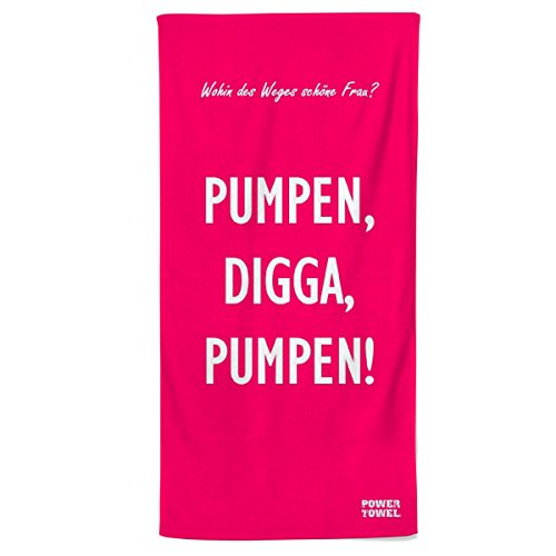 Power Towel das Coole Fitness & Sport-Handtuch mit Einer Botschaft| Verschiedene Motivations-Quotes| Größe 50 cm x 100 cm | POWERTOWEL Handtuch ohne Mikrofaser (PUMPEN Digga - PINK)